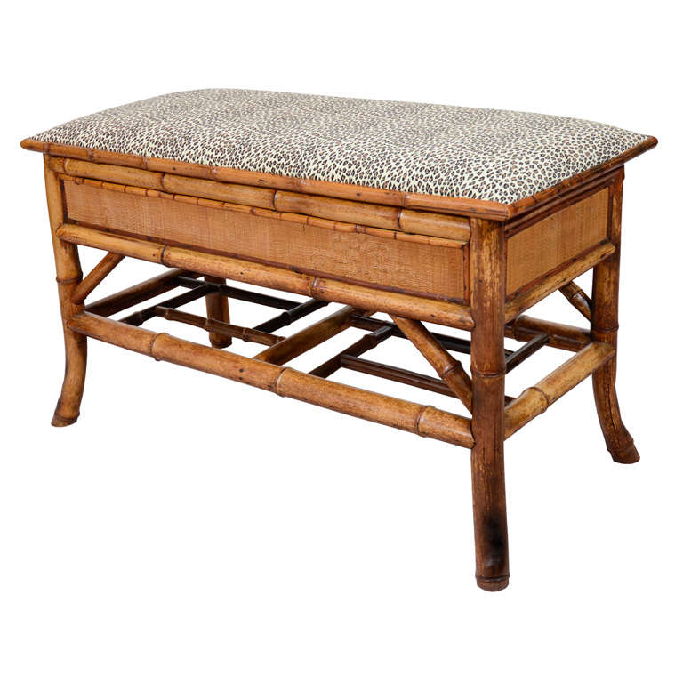Turn of the Century Bamboo Bench with Storage