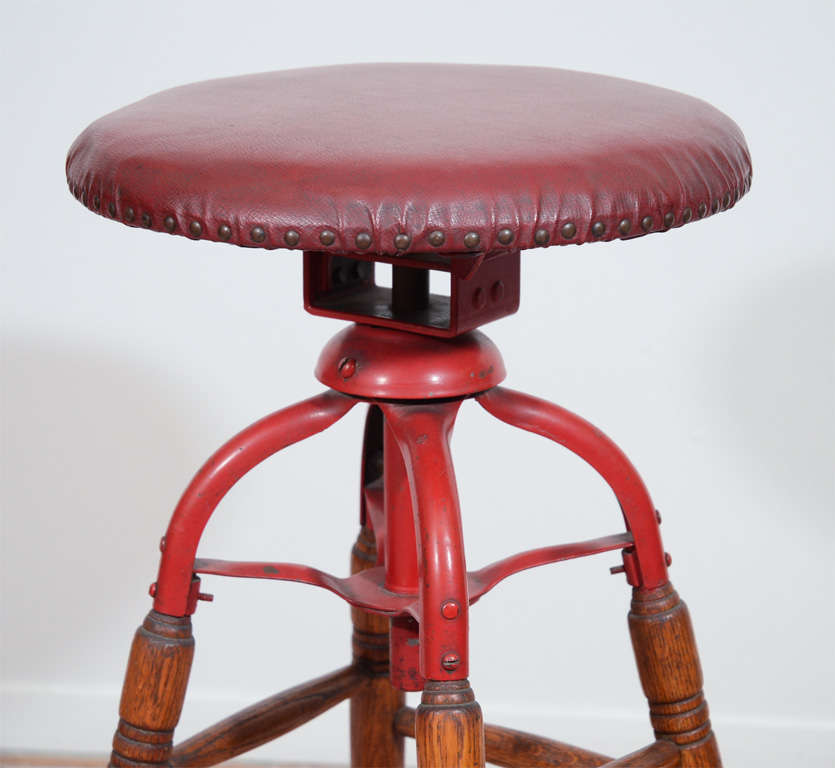 Vintage Oak And Metal Industrial Swivel Top Stool At 1stdibs