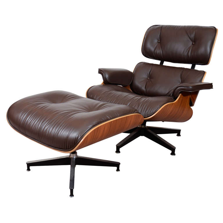 Eames 670 671 Lounge Chair And Ottoman In Walnut Leather For