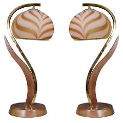 Pair of Mid Century Brass and Wood Floral Form Lamps