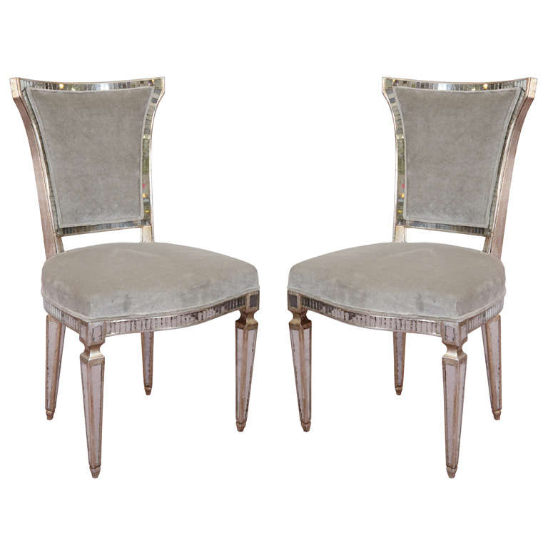 Pair Of Vintage Hollywood Regency Style Mirrored Chairs 1