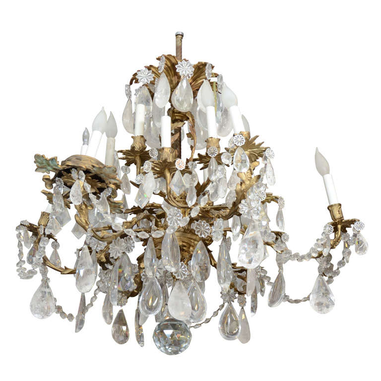 Antique 19th Century Bronze And Rock Crystal Chandelier At
