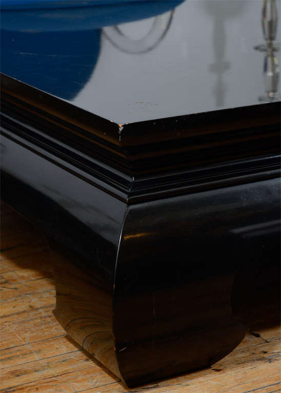 Mid Century Black Lacquered Asian Inspired Coffee Table 3