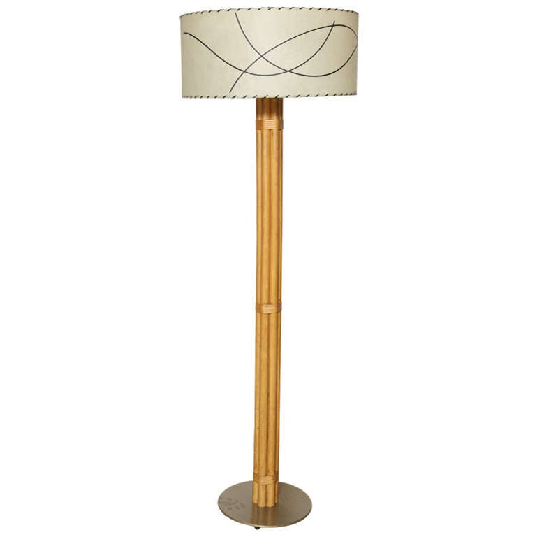 MCM Russel Wright Bamboo Floor Lamp at 1stdibs