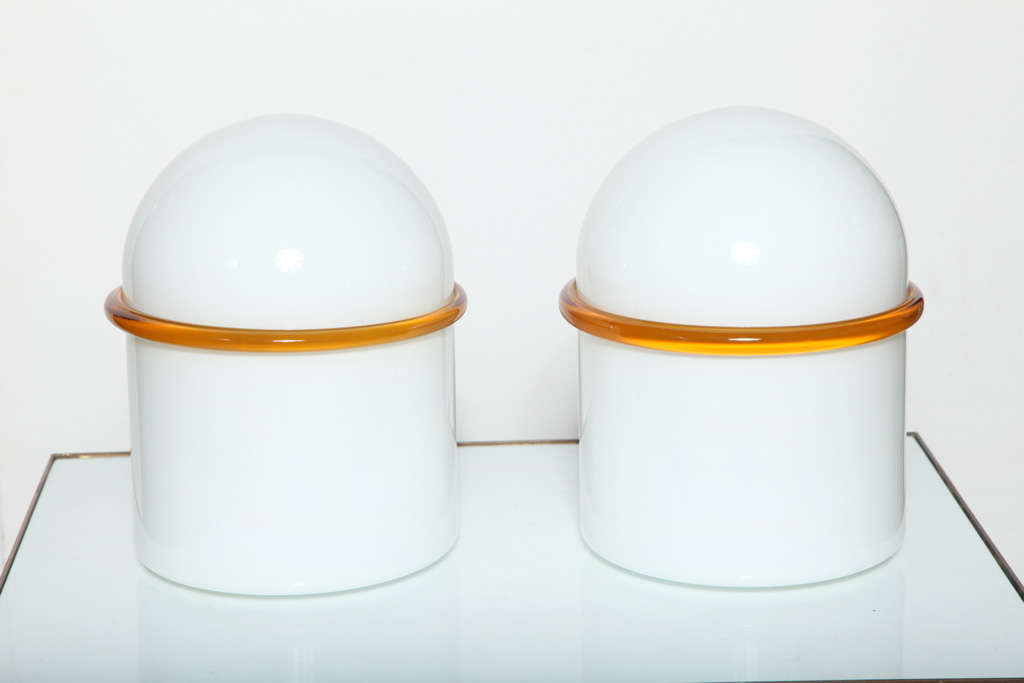 Pair of SIV Murano Società Italiana Vetro Translucent White Cased Glass Table Lamps, attributed to Ettore Sottsass, 1970's. Featuring hand crafted domed White glass, with applied clear Orange banded detail. Post Modern. Rarity. With SIV Made in