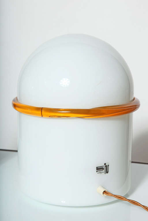 Murano Glass Pair of SIV Murano Società Italiana Amber Banded White Glass Domed Table Lamps  For Sale