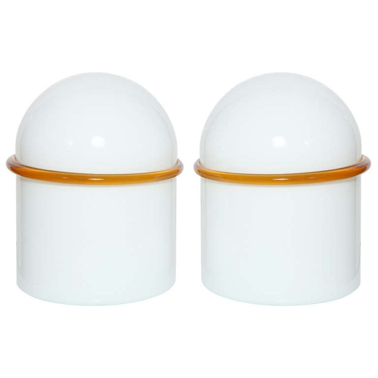 Pair of SIV Murano Società Italiana Amber Banded White Glass Domed Table Lamps  For Sale