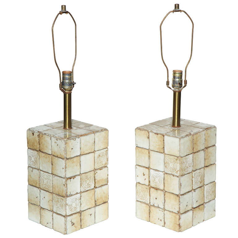 Pair of 1950s Pale Yellow Italian Terracotta Tile Square Block Table Lamps