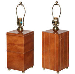 pair of Leather Table Lamps