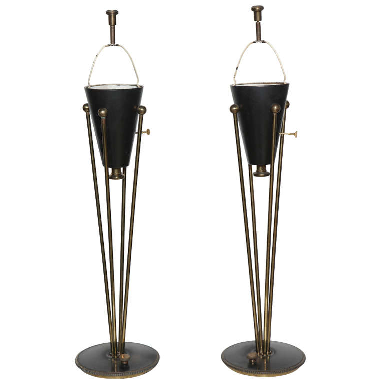 tall pair of 1950s stiffel hollywood regency black enamel and brass table lamps 1 - Tall Table Lamps
