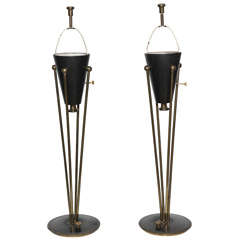 Tall Pair of 1950s Stiffel Hollywood Regency Black Enamel and Brass Table Lamps