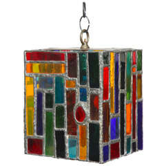 1950's Studio Multicolored Stained Glass and Lead Hanging Pendant