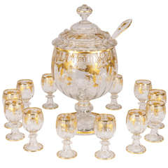 Lobmeyr Hand Blown Crystal Punchbowl, Goblets & Ladle W/ Raised Gold