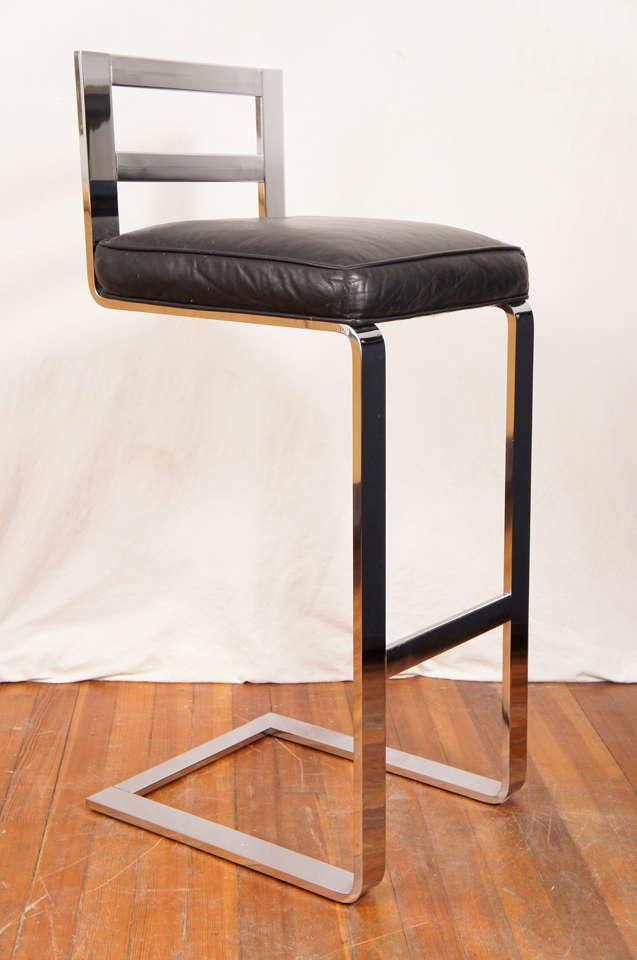 Pair Of Pace Collection Leather And Steel Barstools For