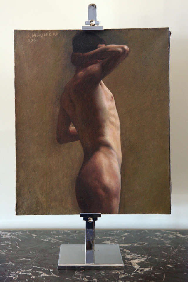 Nude male painting. Signed S. Moriniere, 1896. Oil on stretched canvas.