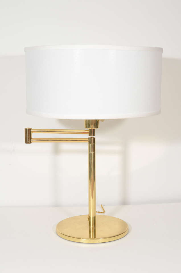 Pair of Brass Swing Arm Table Lamps by Hansen 2