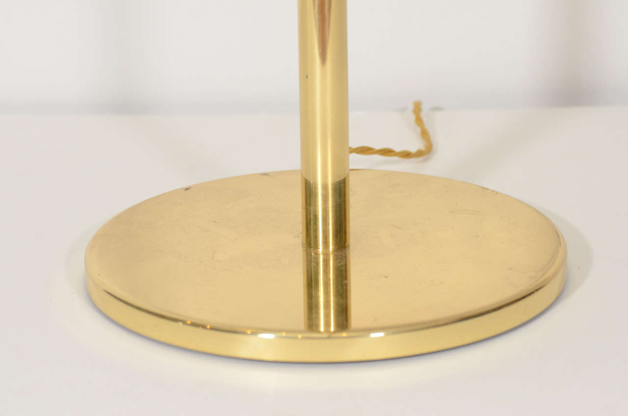 Pair of Brass Swing Arm Table Lamps by Hansen 3