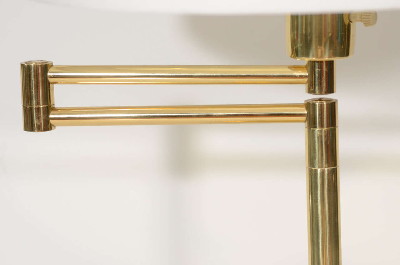 Pair of Brass Swing Arm Table Lamps by Hansen 4