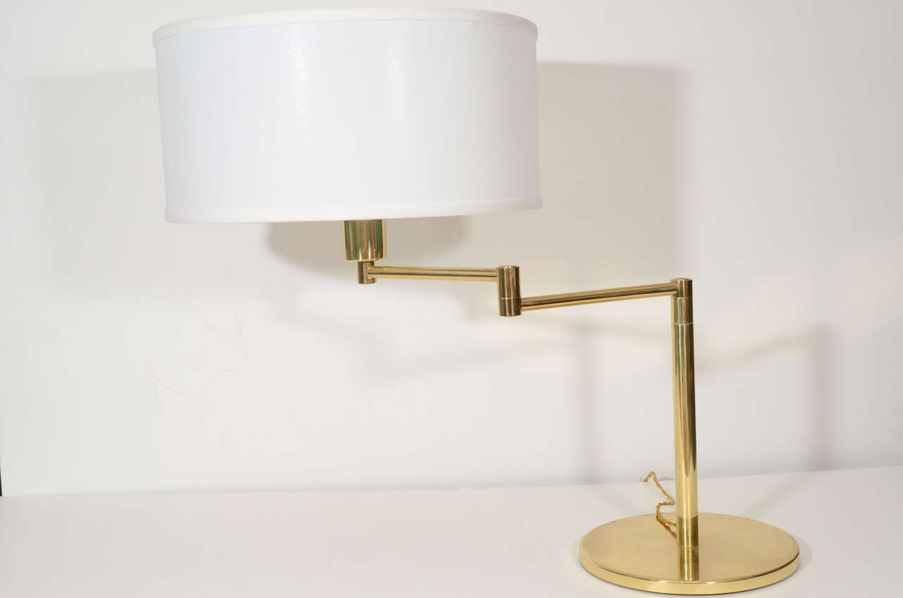 Pair of Brass Swing Arm Table Lamps by Hansen 5