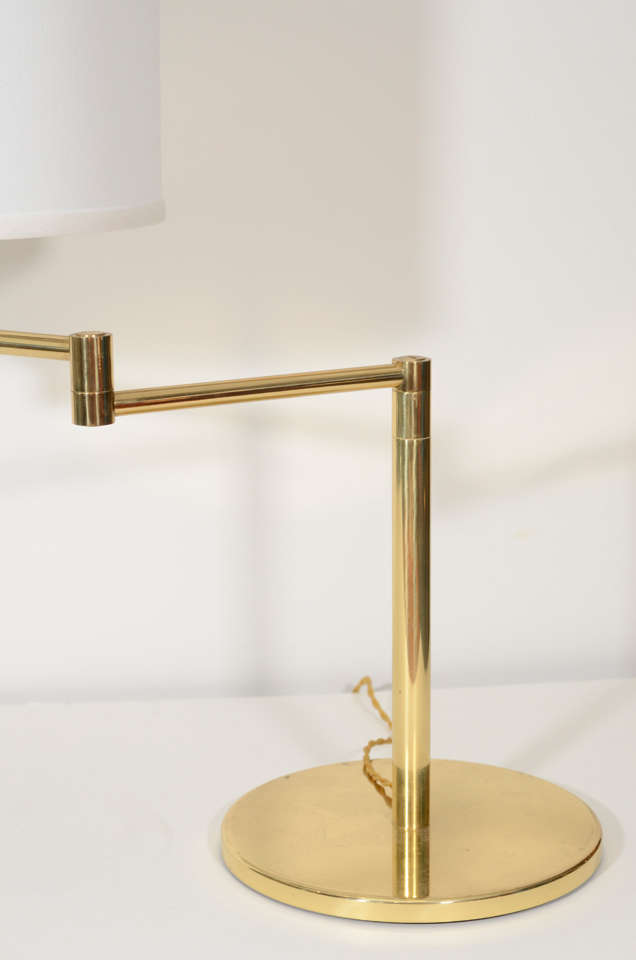 Pair of Brass Swing Arm Table Lamps by Hansen 6