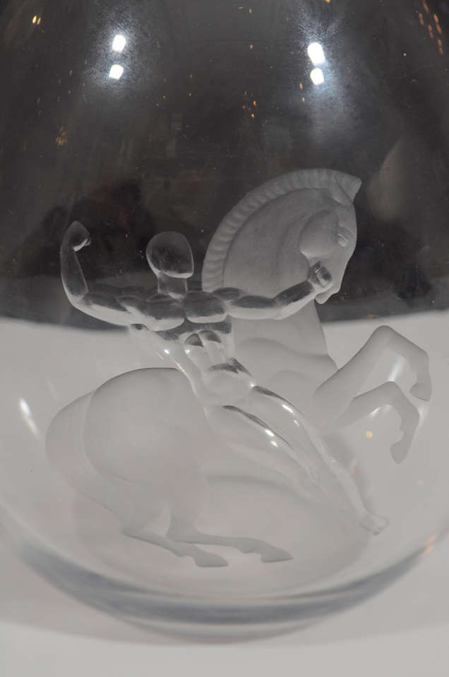 Rare Vicke Lindstand Vase for Orrefors In Excellent Condition For Sale In Hudson, NY
