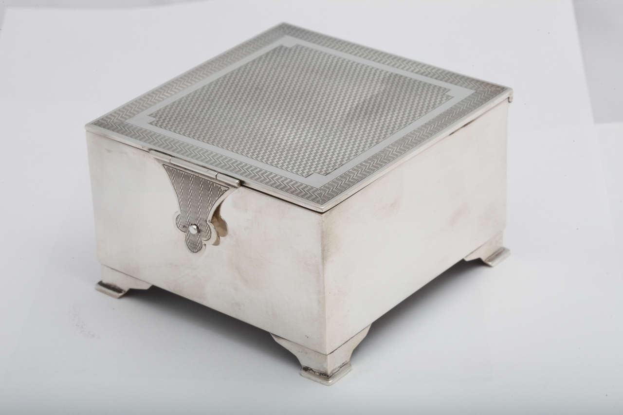 Art Deco Sterling Silver Footed Table Box With Hasp  : B from www.1stdibs.com size 1280 x 853 jpeg 51kB