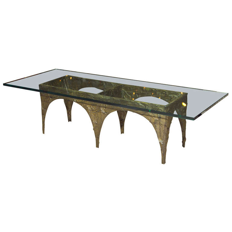 Signed Paul Evans Bronze Glass Top Coffee Table At 1stdibs