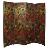 Four Panel Painted Leather Screen