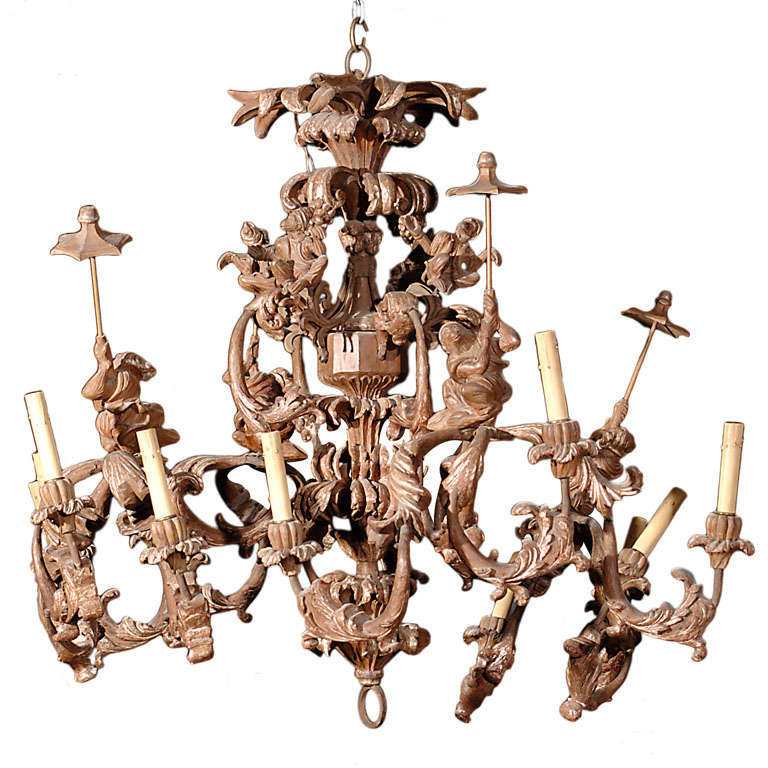 Carved Italian Monkey Chandelier At 1stdibs