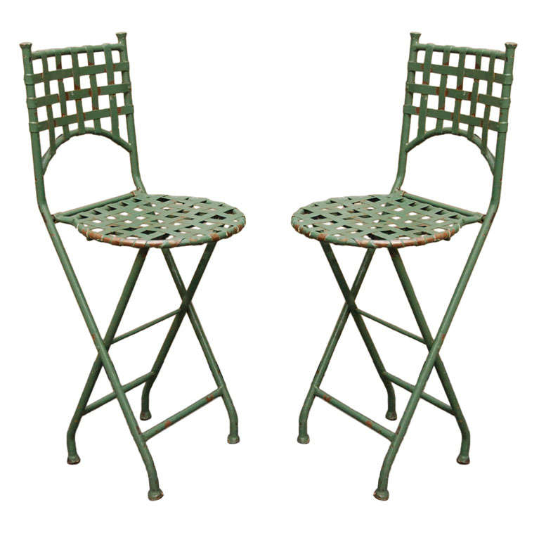 Pair Of Vintage French Bar Stools At 1stdibs