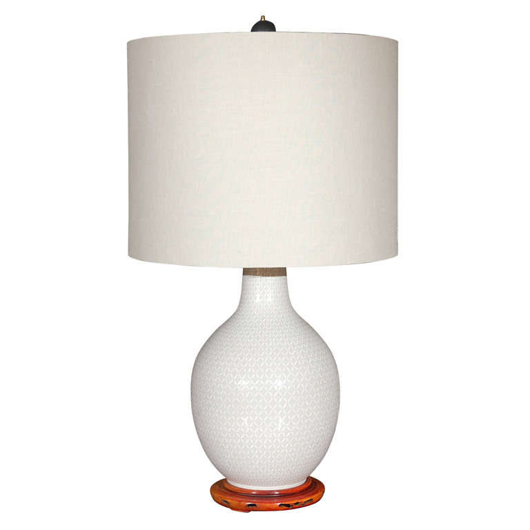 Tall White Chinese Modern Table Lamp At 1stdibs