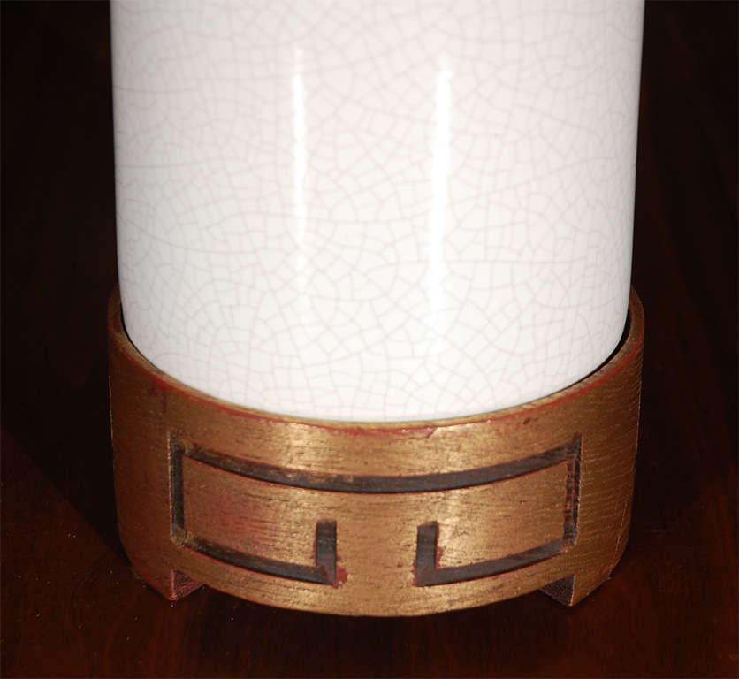 Tall White Crackle Finish Table Lamp 7