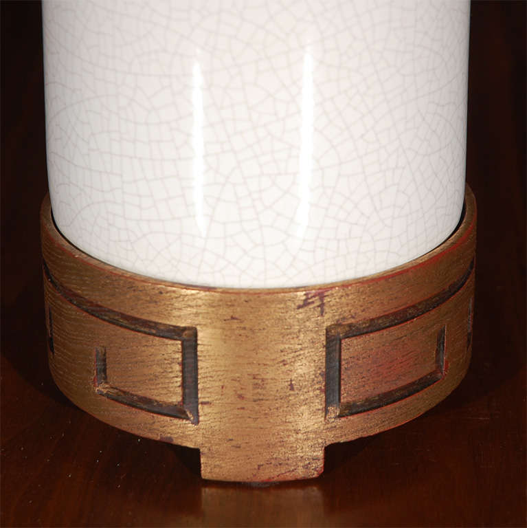 Tall White Crackle Finish Table Lamp 8