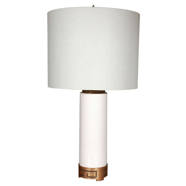 tall white crackle finish table lamp at 1stdibs. Black Bedroom Furniture Sets. Home Design Ideas