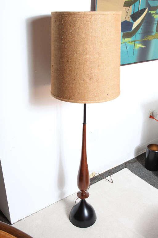 Mid Century Sculptural Walnut Modern Floor Lamp At 1stdibs