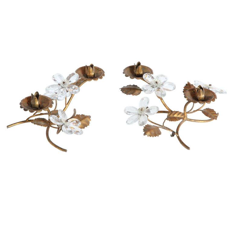 Ornate Crystal Floral candleholder
