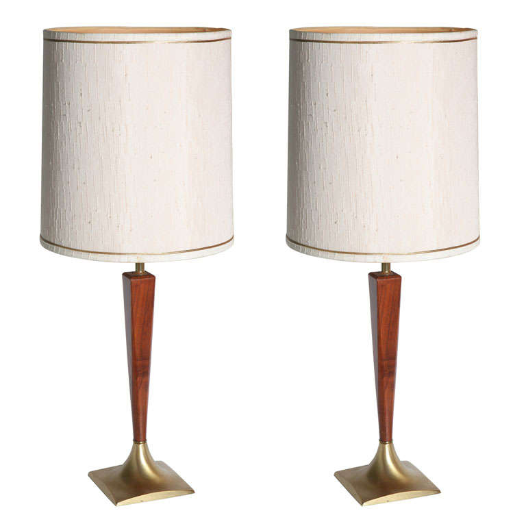 Pair of Wood and Brass Lamps