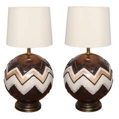 70's Glass Globe Table Lamps