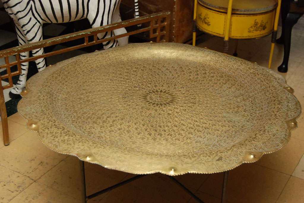 Large Moroccan Brass Tray Table 3