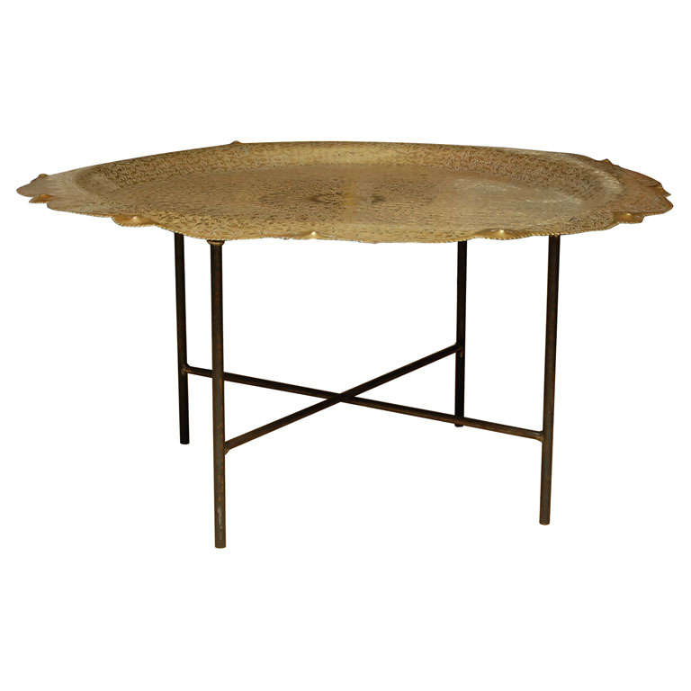 Large Moroccan Brass Tray Table At 1stdibs