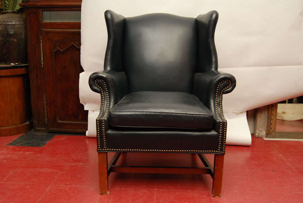 Blue Leather Wingback Chair And Ottoman At 1stdibs