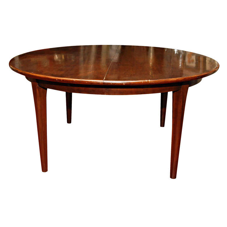 pecan wood round dining table leaves at 1stdibs