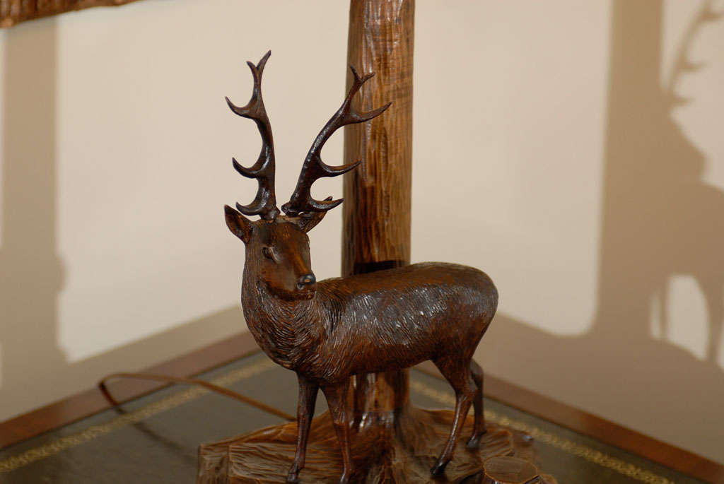 Wood 20th Century Black Forest Stag Lamp For Sale