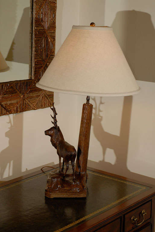 20th Century Black Forest Stag Lamp For Sale 2