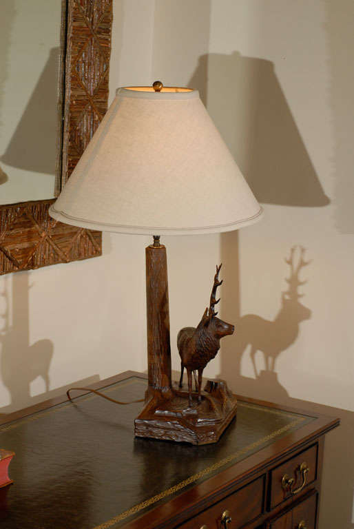20th Century Black Forest Stag Lamp For Sale 3
