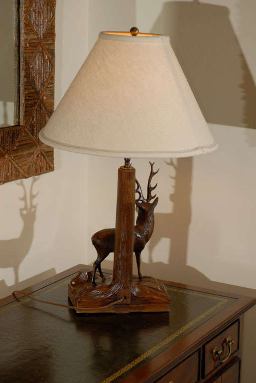 20th Century Black Forest Stag Lamp For Sale 4