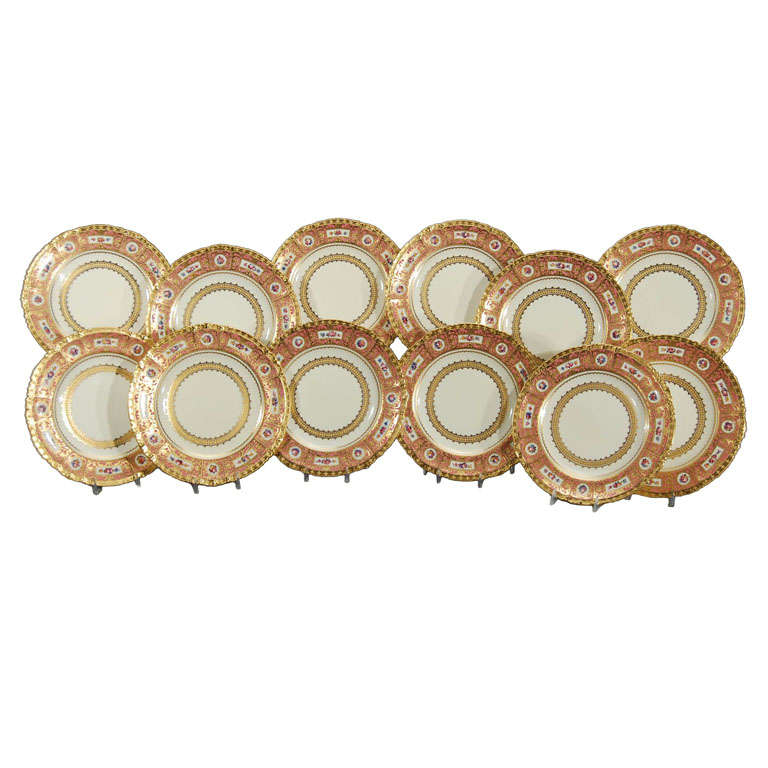 12 Royal Crown Hand Painted Dinner Plates W/ Raised Gold Made for Tiffany