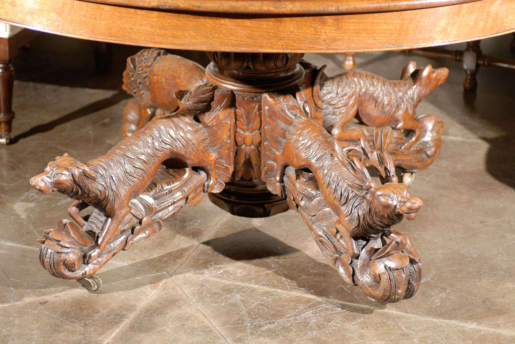 French Oval Table With Carved Animal Pedestal At 1stdibs
