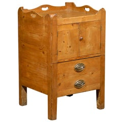 English circa 1800 Pine Tray Top Commode with Double Doors and Faux Drawer