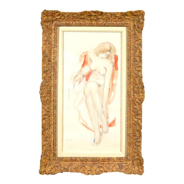 'Nude' Original Pencil and Watercolor
